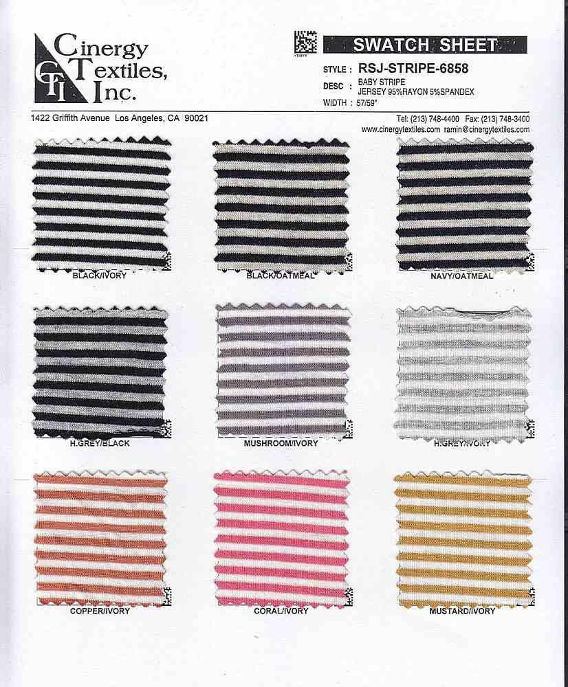 RSJ-STRIPE-6858 / Baby Stripe Jersey 95%Rayon 5%Spandex
