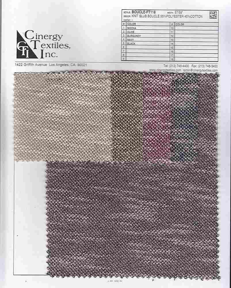 BOUCLE-FT118 / Knit Slub Boucle 55%Polyester 45%Cotton