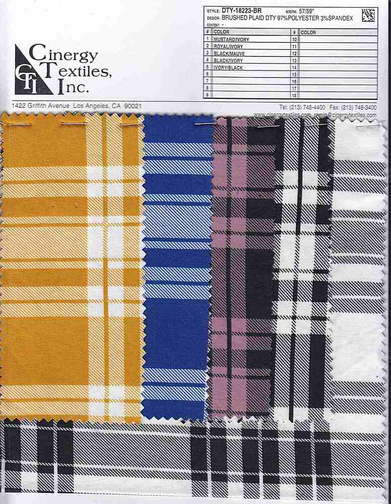 DTY-18223-BR / Brushed Plaid DTY 97%Polyester 3%Spandex