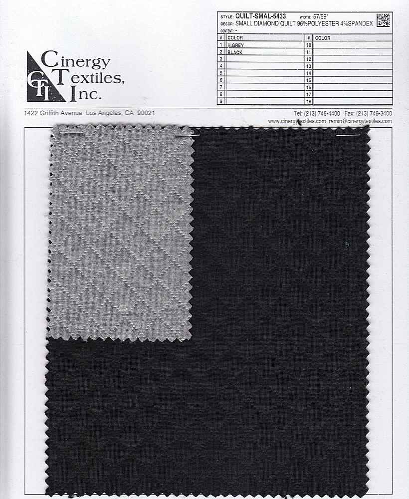 QUILT-SMAL-5433 / Small Diamond Quilt 96%Polyester 4%Spandex