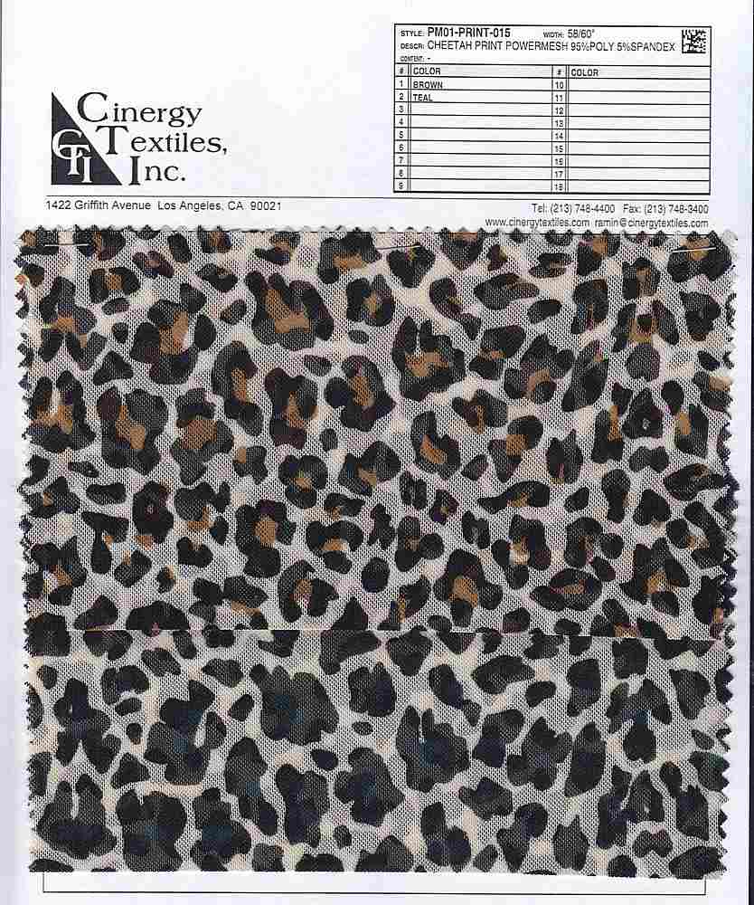 PM01-PRINT-015 / Cheetah Print Powermesh 95%Poly 5%Spandex