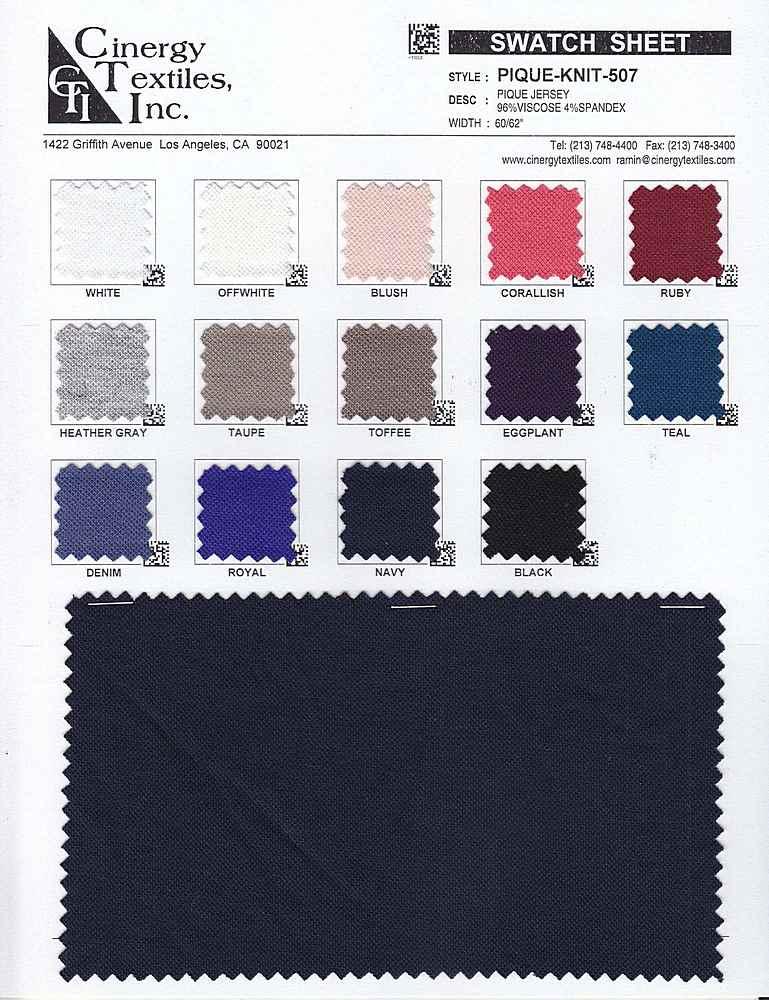 PIQUE-KNIT-507 / Pique Jersey 96%Viscose 4%Spandex