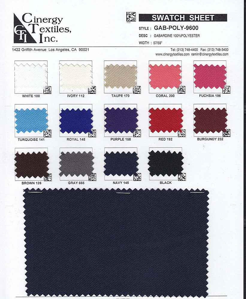GAB-POLY-9600 / Gabardine 100%Polyester