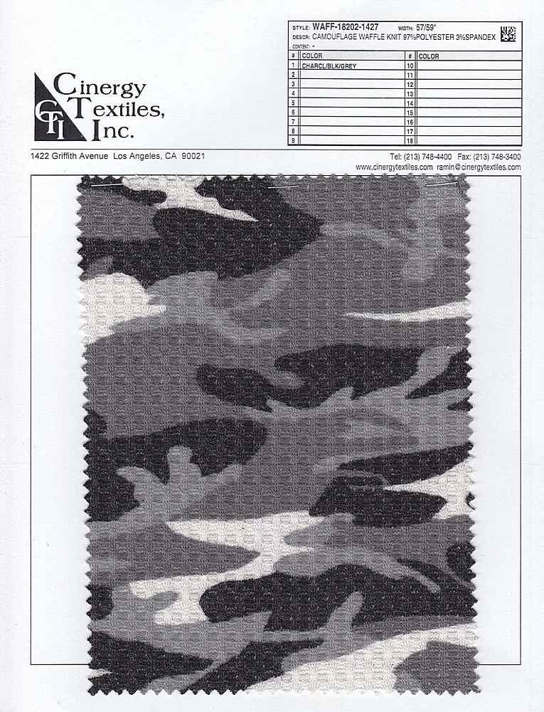 WAFF-18202-1427 / Camouflage Waffle Knit 97%Polyester 3%Spandex