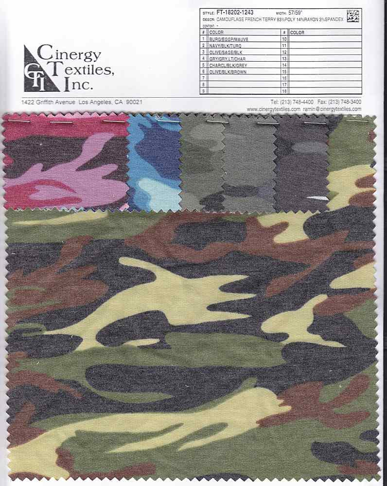 FT-18202-1243 / Camouflage French Terry 83%Poly 14%Rayon 3%Spandex