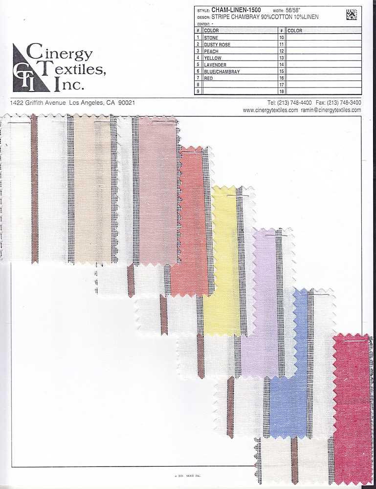 CHAM-LINEN-1500 / Stripe Chambray 90%Cotton 10%Linen