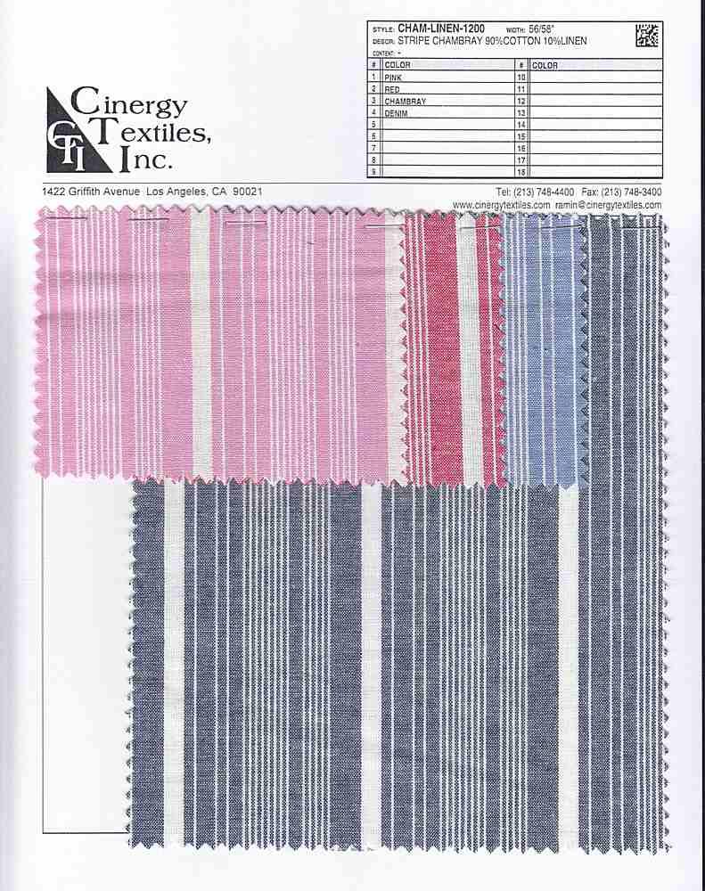 CHAM-LINEN-1200 / Stripe Chambray 90%Cotton 10%Linen