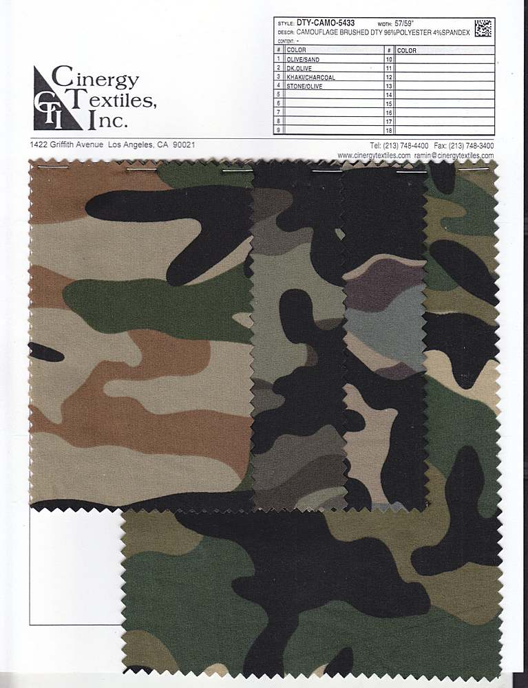 DTY-CAMO-5433 / Camouflage Brushed DTY 96%Polyester 4%Spandex