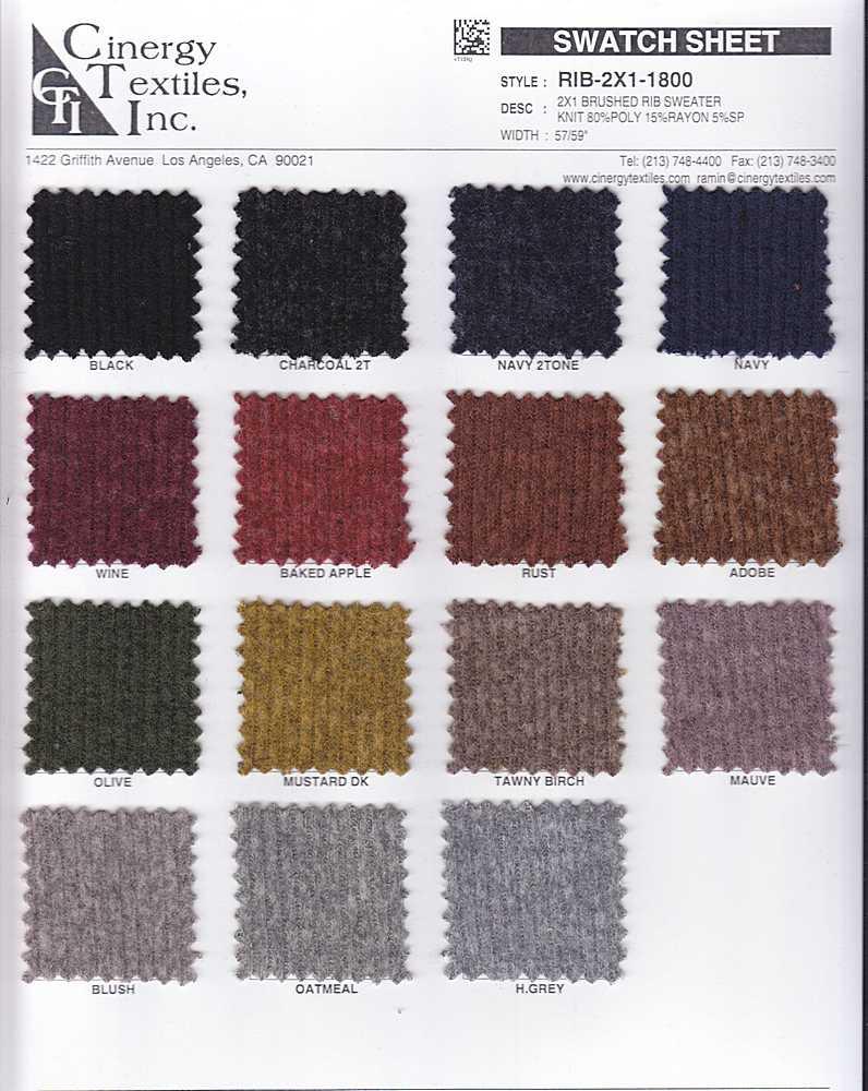 RIB-2X1-1800 / 2x1 Brushed Rib Sweater Knit 80%Poly 15%Rayon 5%SP