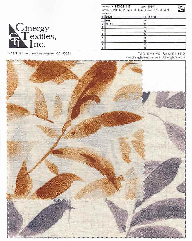 LN1852-C51147 / Printed Linen Challis 85%Rayon 15%Linen