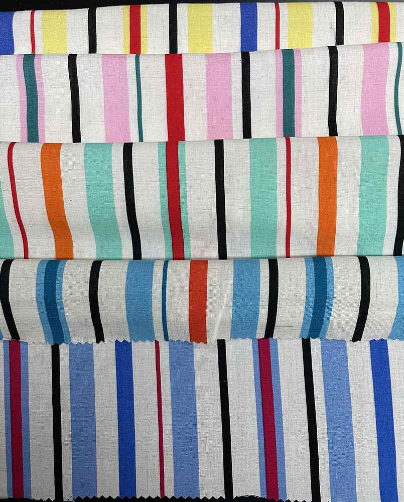 LN1852-ST50467 / Stripe Linen Challis 85%Rayon 15%Linen