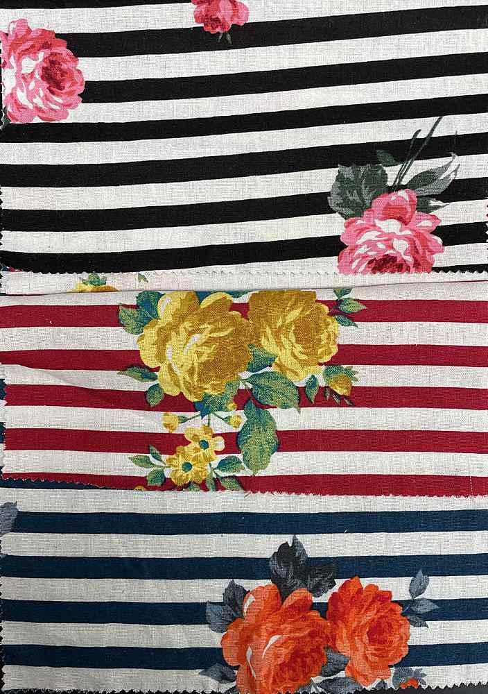 LN1573C-SF3481V / Stripe Floral Linen 62%Rayon 30%Linen 8%Cotton