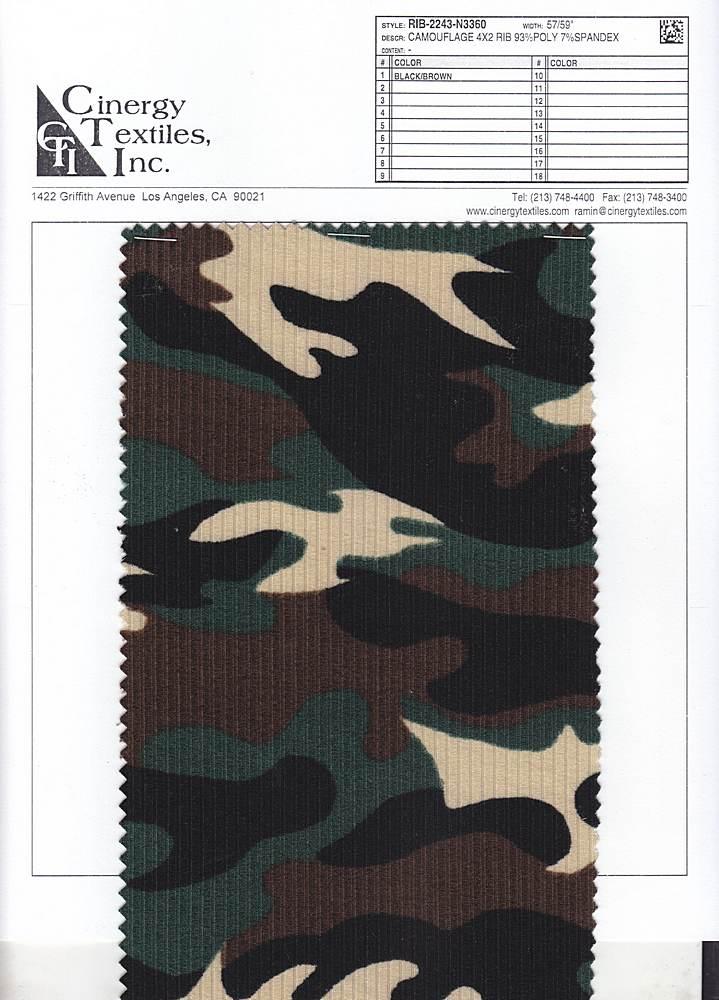 RIB-2243-N3360 / Camouflage 4x2 Rib 93%Poly 7%Spandex