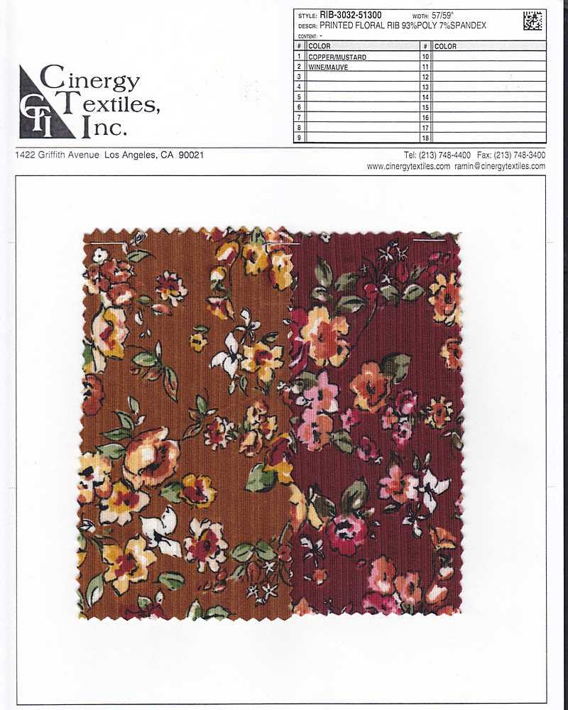 RIB-3032-51300 / Printed Floral RIB 93%Poly 7%Spandex