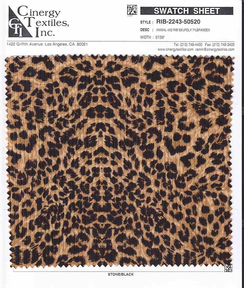 RIB-2243-50520 / Animal 4x2 Rib 93%Poly 7%Spandex