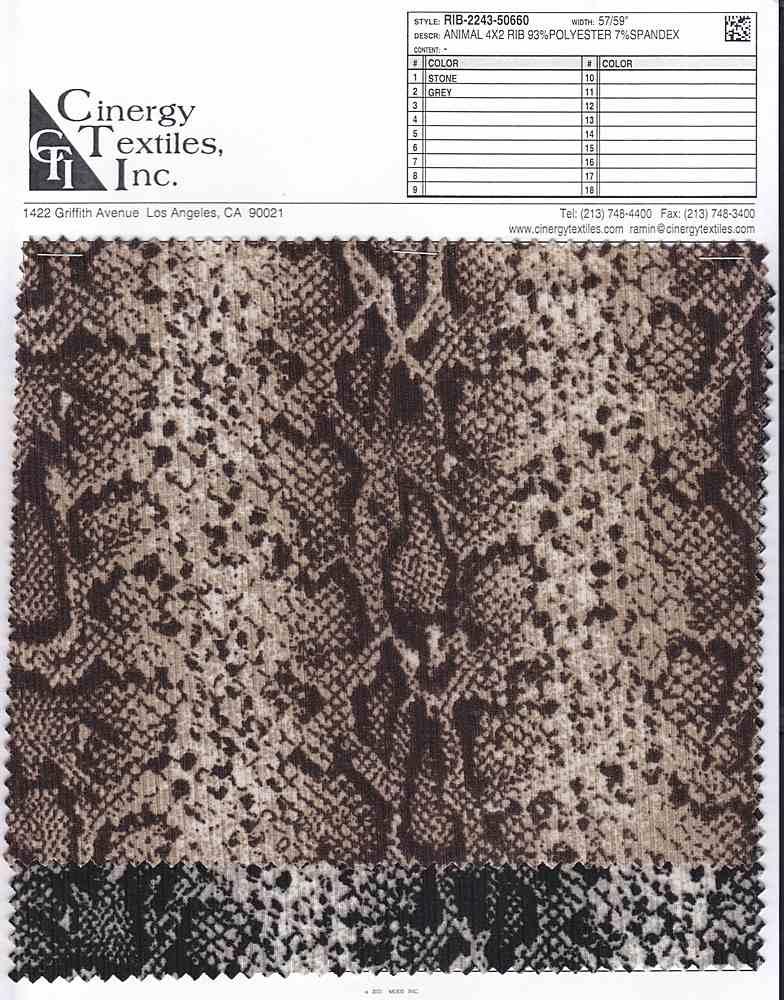 RIB-2243-50660 / Animal 4x2 Rib 93%Polyester 7%Spandex