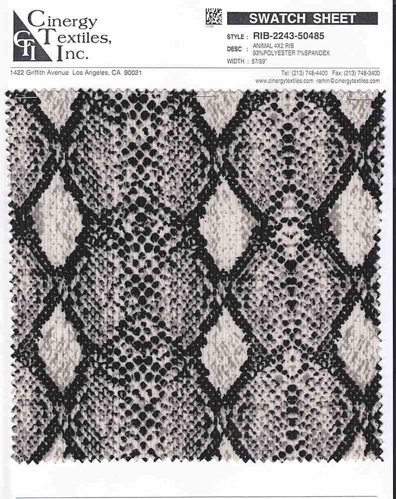 RIB-2243-50485 / Animal 4x2 Rib 93%Polyester 7%Spandex