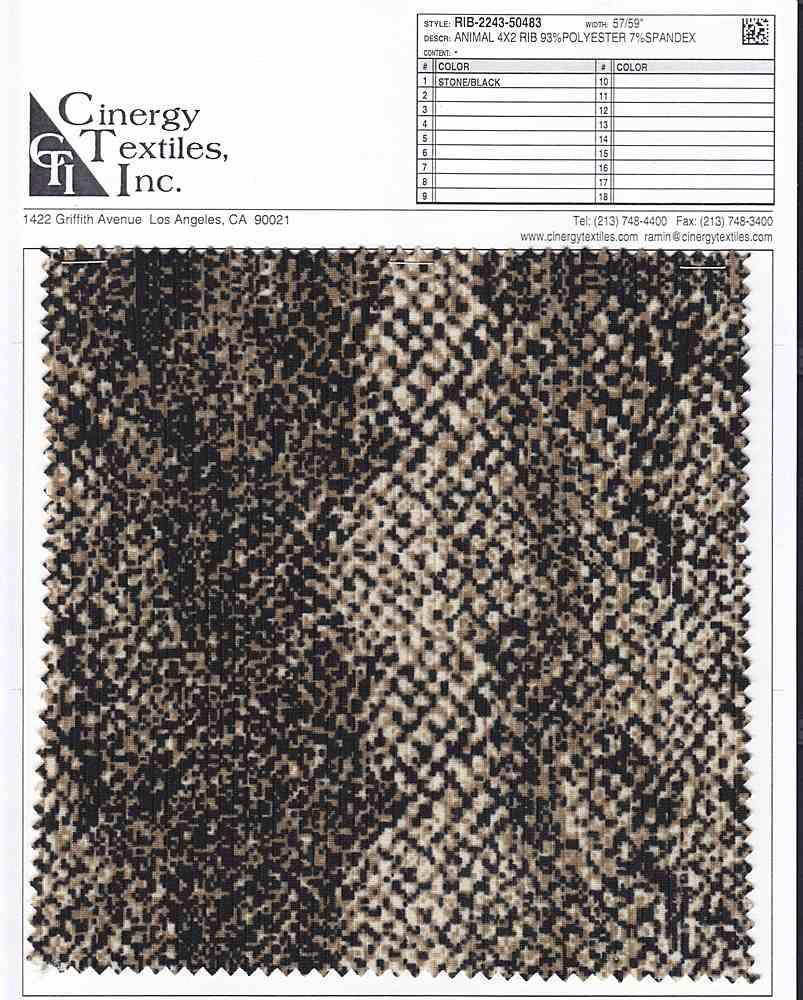 RIB-2243-50483 / Animal 4x2 Rib 93%Polyester 7%Spandex