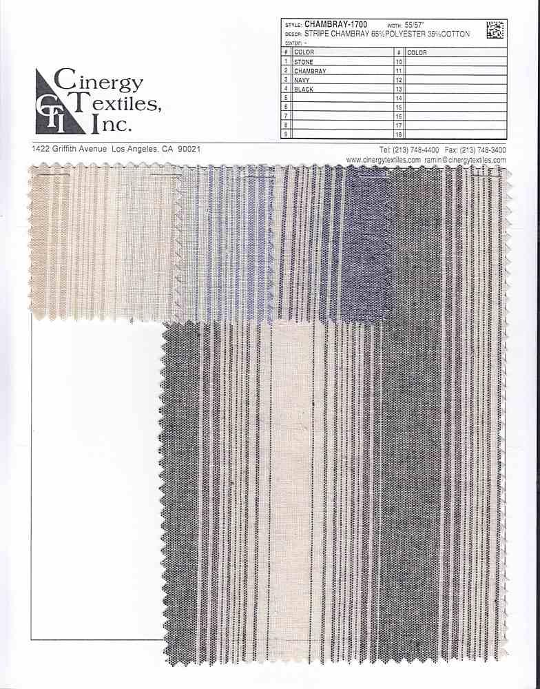 CHAMBRAY-1700 / Stripe Chambray 65%Polyester 35%Cotton