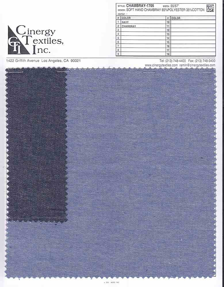 CHAMBRAY-1705 / Soft Hand Chambray 65%Polyester 35%Cotton