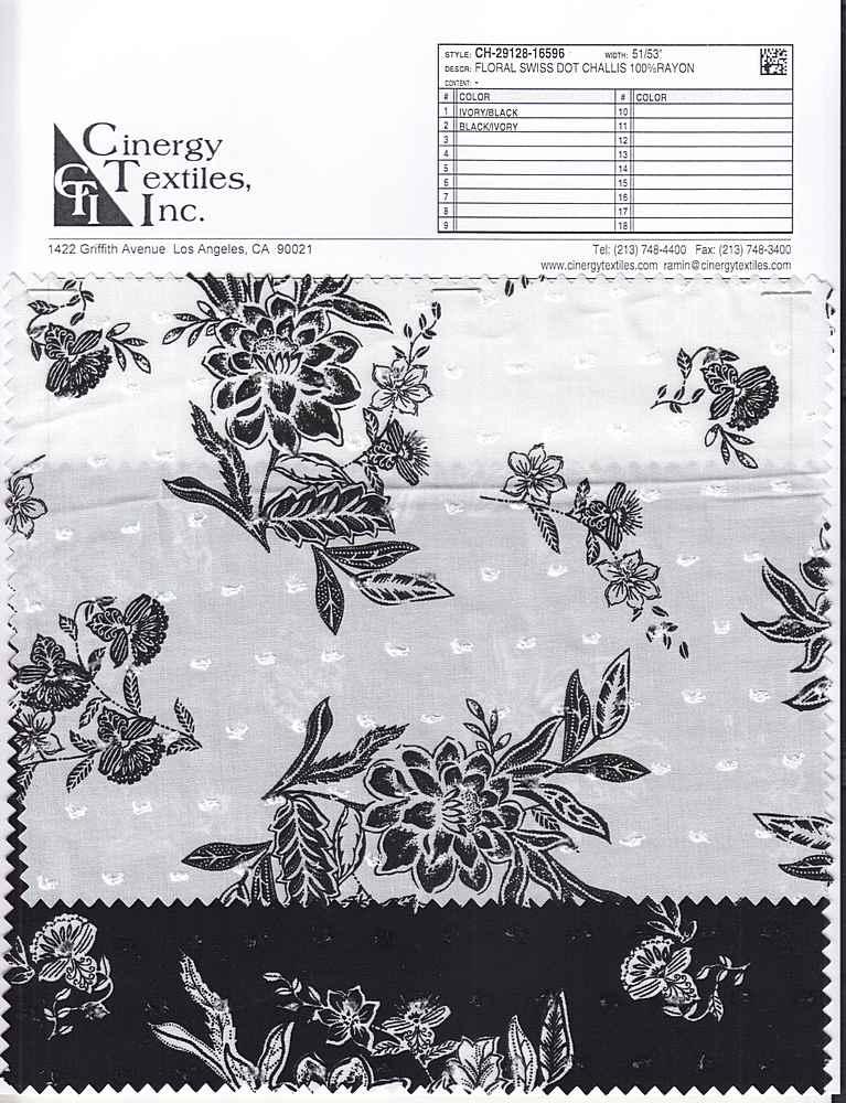 CH-29128-16596 / Floral Swiss Dot Challis 100%Rayon
