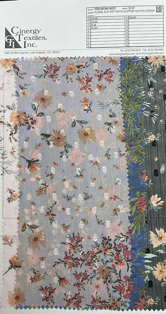 YOR-29148-16413 / Floral Clip Dot Yoryu Chiffon 100%Polyester