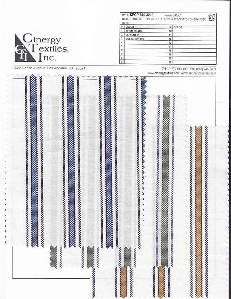 SPOP-810-3213 / Printed Stripe Stretch Poplin 97%Cotton 3%Spandex