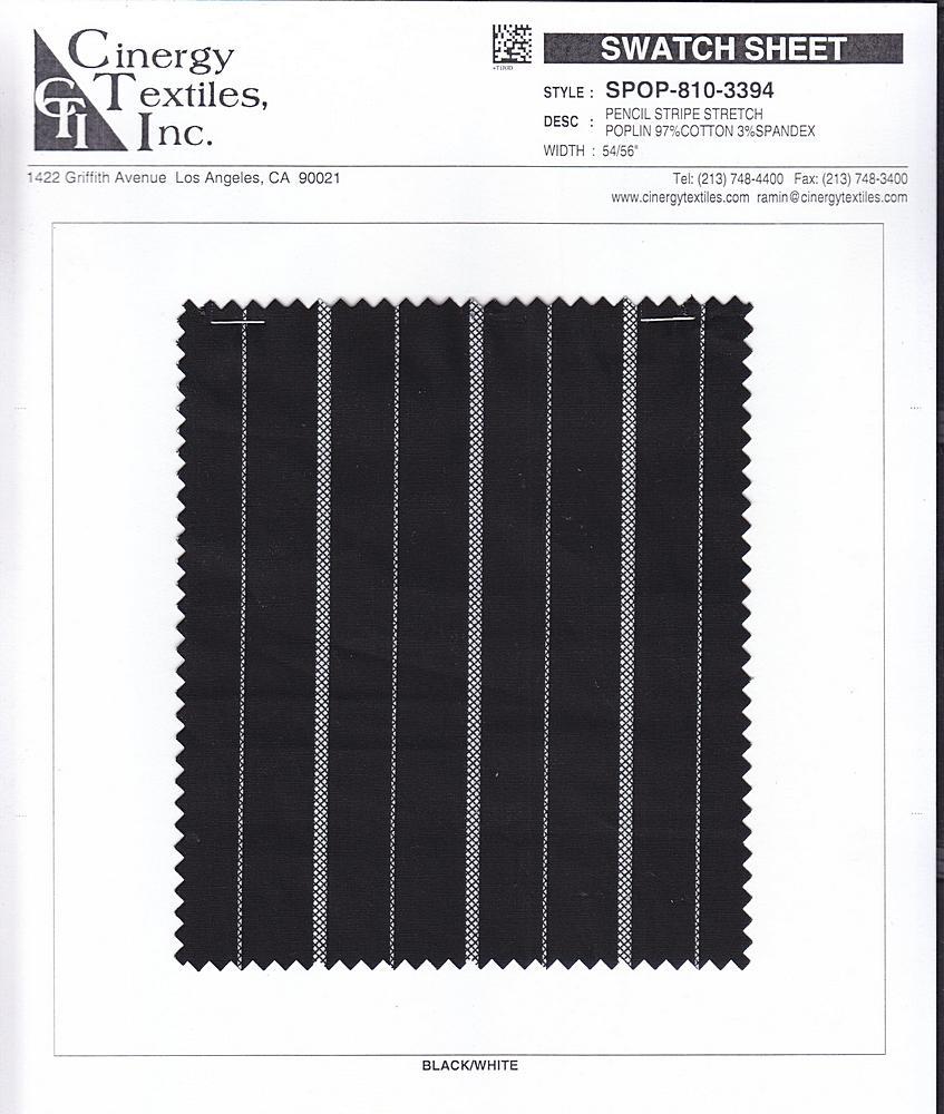 SPOP-810-3394 / Printed Stripe Stretch Poplin 97%Cotton 3%Spandex