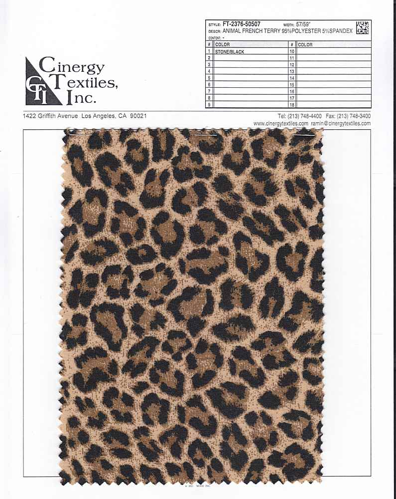 FT-2376-50507 / Animal French Terry 95%Polyester 5%Spandex