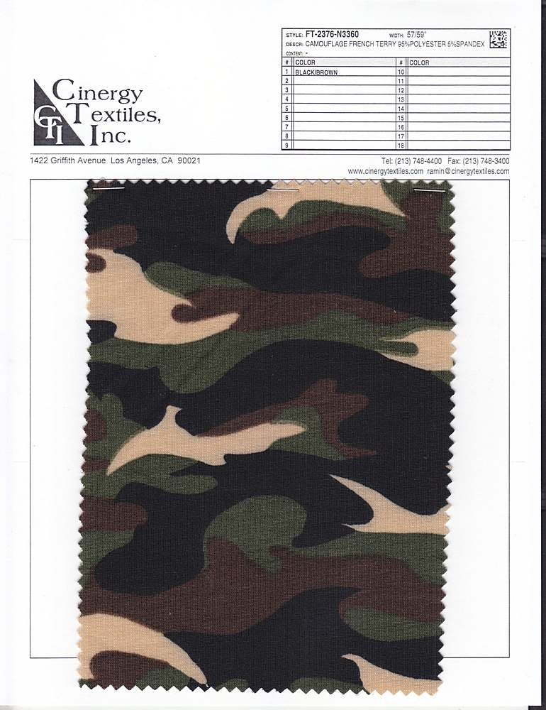 FT-2376-N3360 / Camouflage French Terry 95%Polyester 5%Spandex