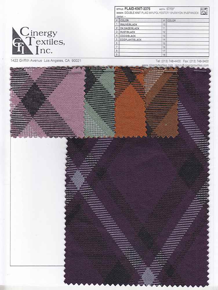 PLAID-KNIT-3376 / Double Knit Plaid 84%Polyester 13%Rayon 3%Spandex