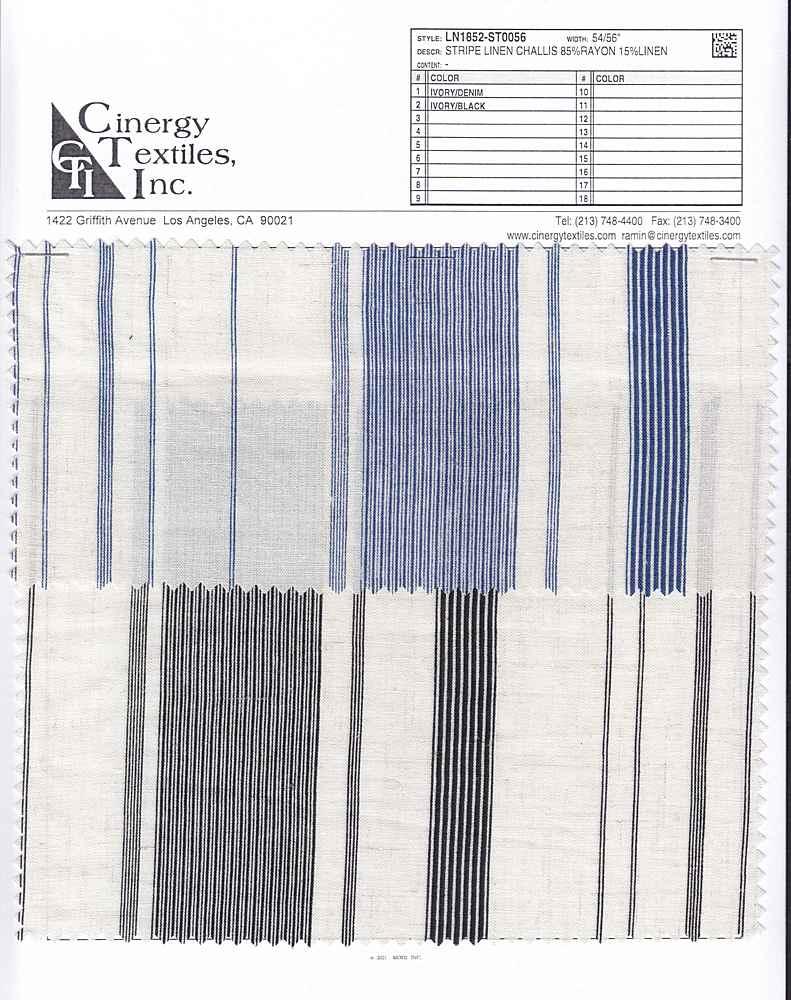 LN1852-ST0056 / Stripe Linen Challis 85%Rayon 15%Linen