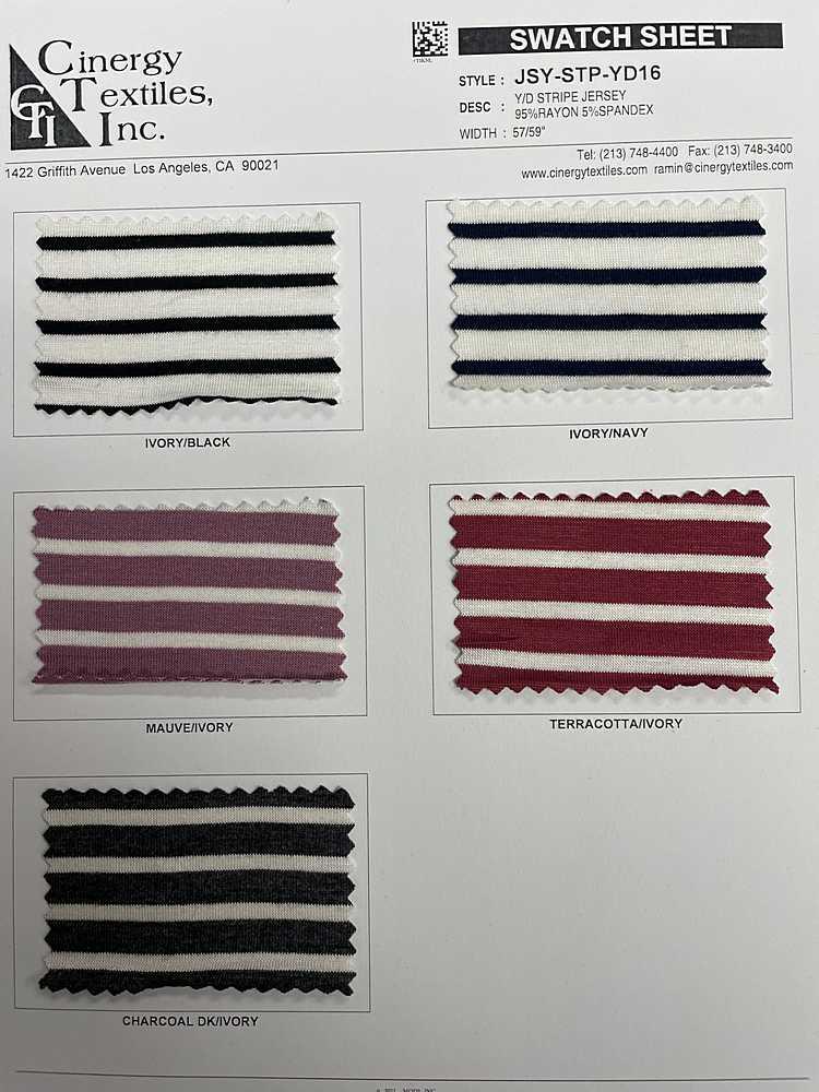 JSY-STP-YD16 / Y/D Stripe Jersey 95%Rayon 5%Spandex