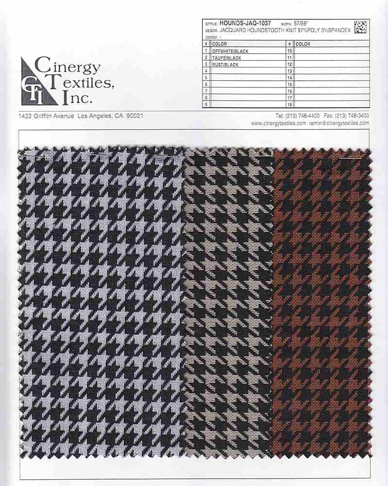 HOUNDS-JAQ-1037 / Jacquard Houndstooth Knit 97%Poly 3%Spandex