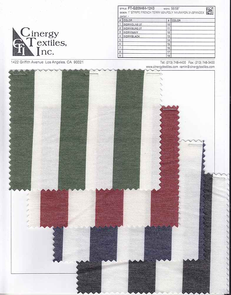 """FT-G209464-1243 / 1"""" Stripe French Terry 83%Poly 14%Rayon 3%Spandex"""