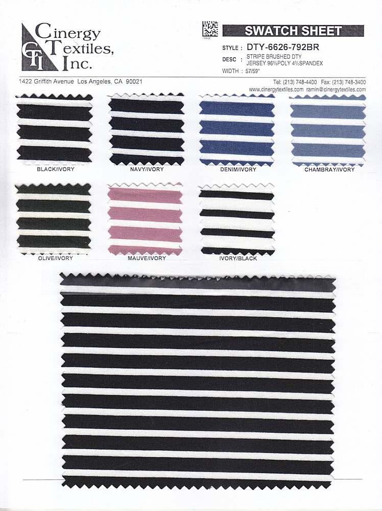 DTY-6626-792BR / Stripe Brushed DTY Jersey 96%Poly 4%Spandex