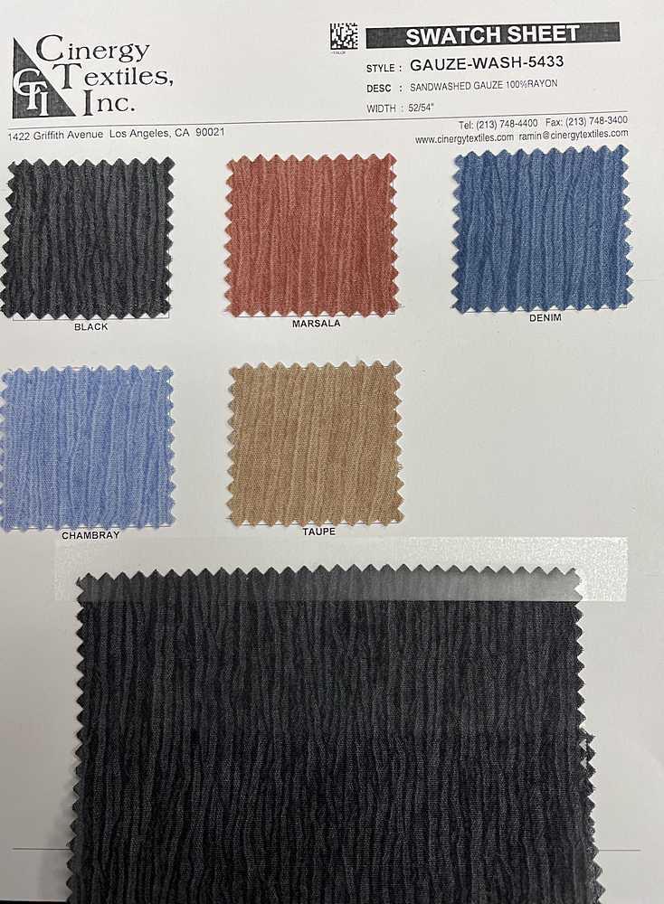 GAUZE-WASH-5433 / Sandwashed Gauze 100%Rayon
