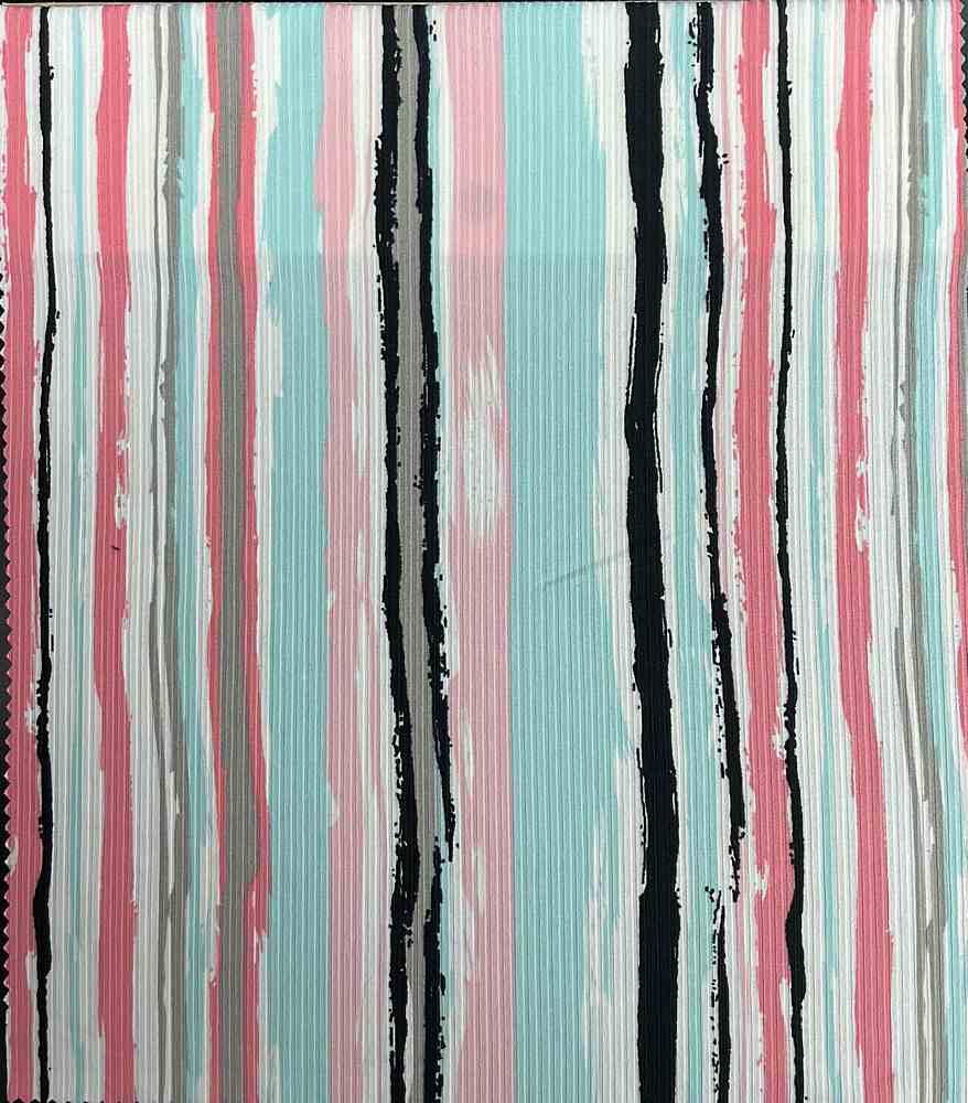 RIB-RB33 / Printed Stripe Rib 95%Polyester 5%Spandex