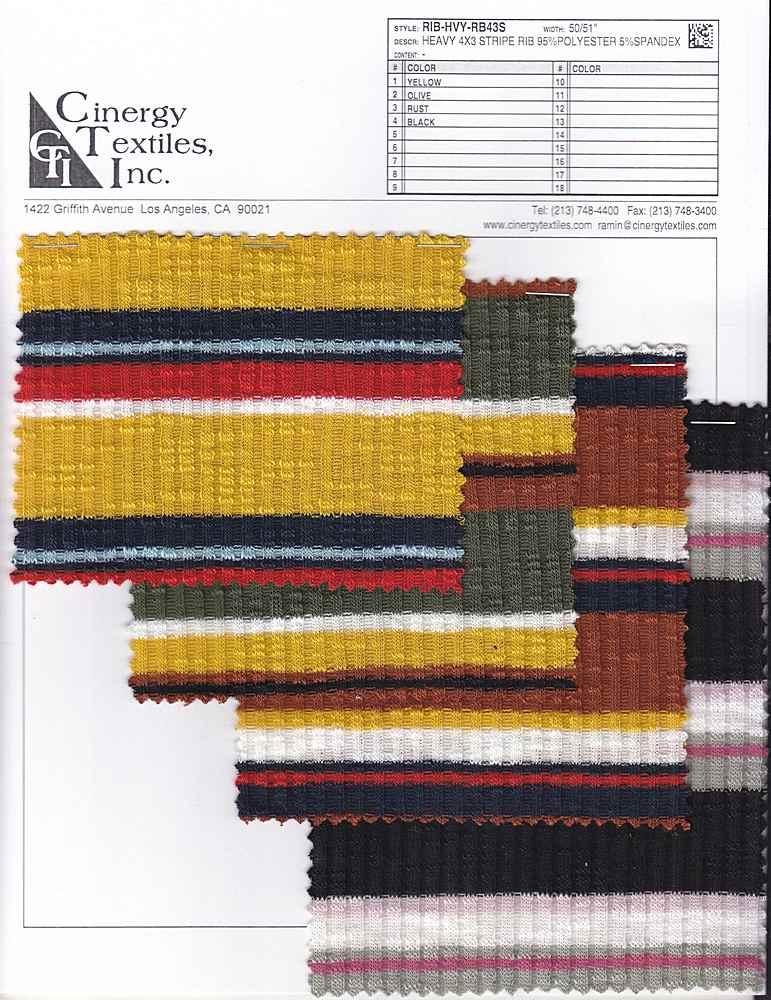 RIB-HVY-RB43S / Heavy 4x3 Stripe Rib 95%Polyester 5%Spandex