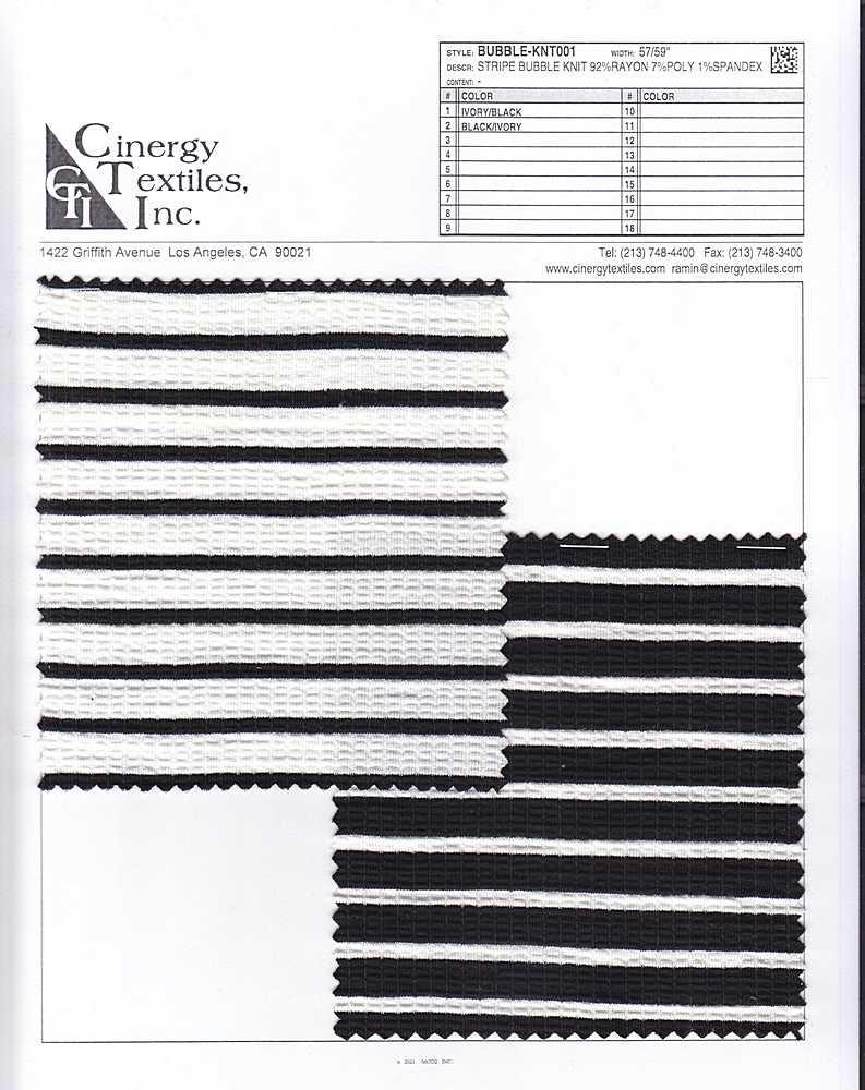 BUBBLE-KNT001 / Stripe Bubble Knit 92%Rayon 7%Poly 1%Spandex