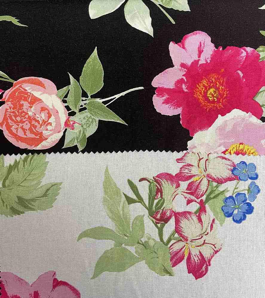 LR-31504-10895 / Graphic Flower Linen/Rayon 70%Rayon 30%Linen