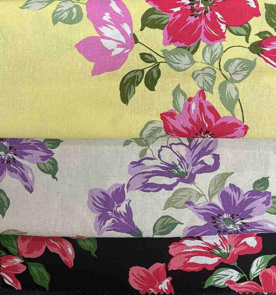 LR-31504-10636 / Floral Linen/Rayon 70%Rayon 30%Linen
