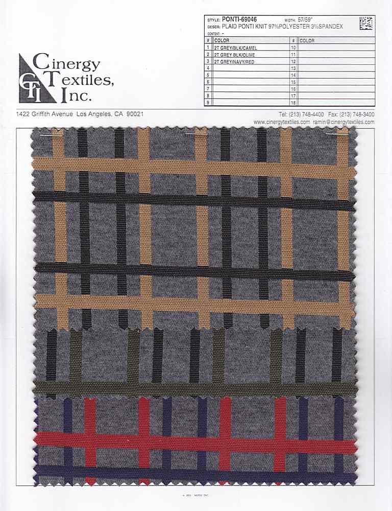 PONTI-69046 / Plaid Ponti Knit 97%Polyester 3%Spandex