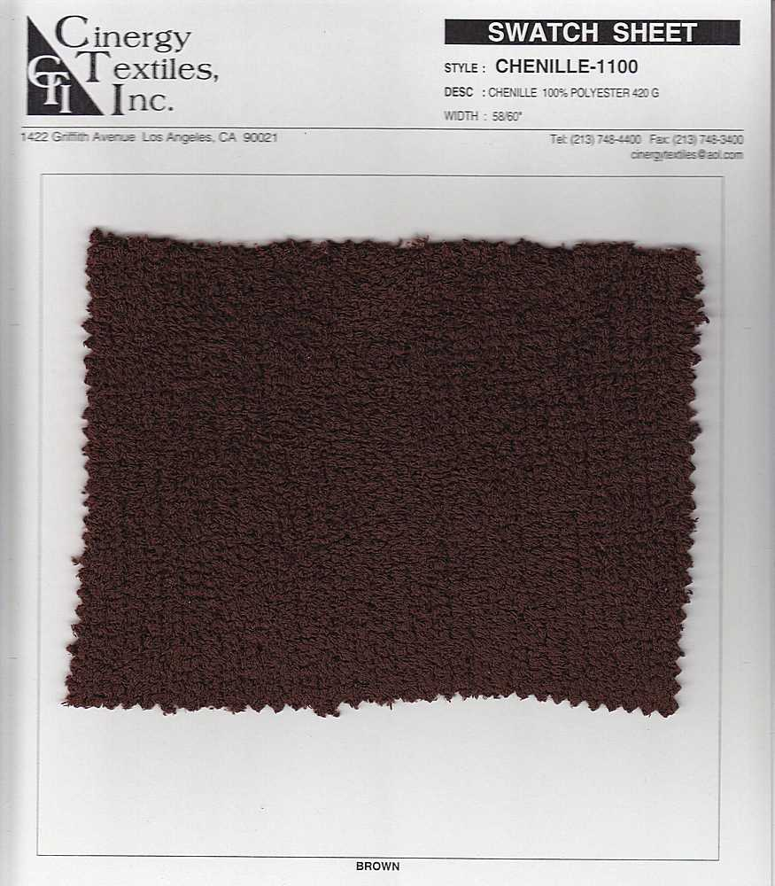 <h2>CHENILLE-1100</h2> / BROWN           / CHENILLE  100% POLYESTER 420 G