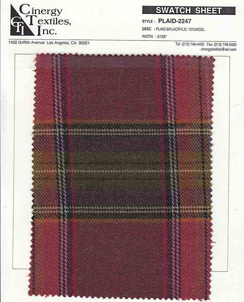 <h2>PLAID-2247</h2> / ORANGE/GREEN    / PLAID 90%ACRYLIC 10%WOOL