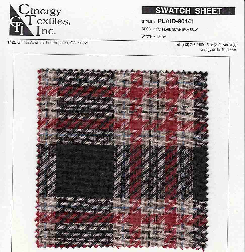 <h2>PLAID-90441</h2> / BLACK                 / Brushed Plaid 90%Poly 5%Acrylic 5%Wool