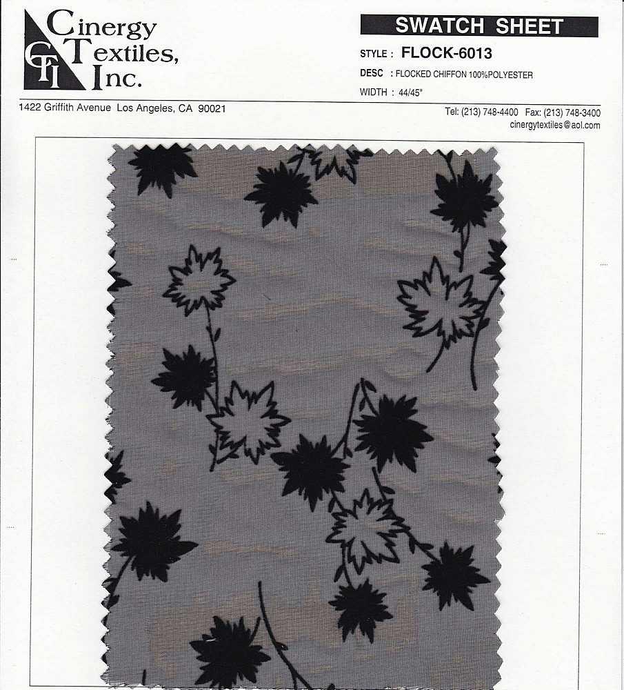 <h2>FLOCK-6013</h2> / BLACK                 / Woven Flocked Chiffon 100%Polyester