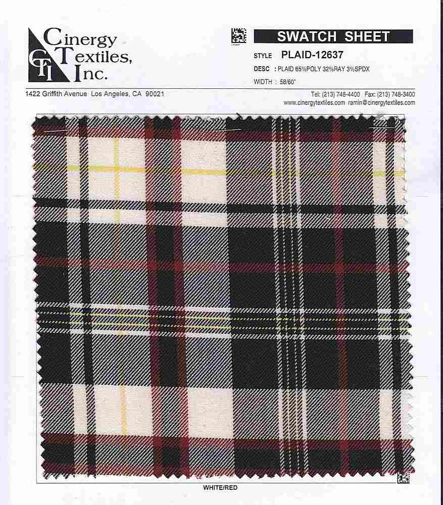 <h2>PLAID-12637</h2> / FAMILY          / Y/D Plaid Suiting 65%Poly 32%Ray 3%Spdx