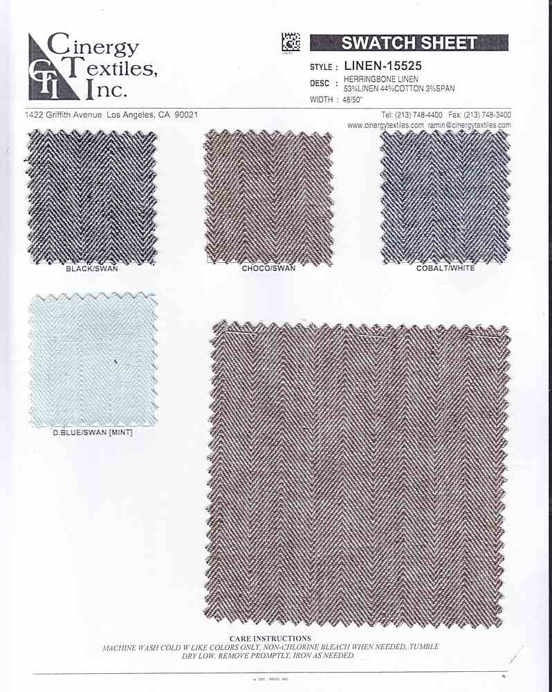 LINEN-15525 / Herringbone Linen 53%Linen 44%Cotton 3%Span