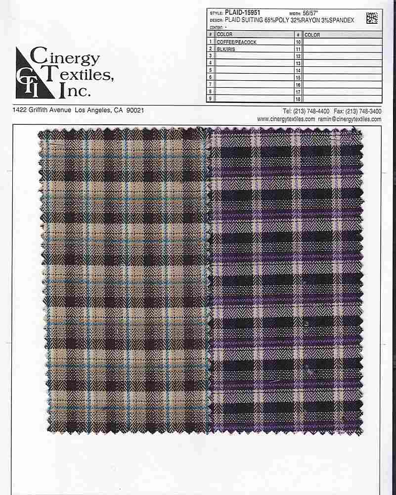 <h2>PLAID-15951</h2> / FAMILY          / Plaid Suiting 65%Poly 32%Rayon 3%Spandex